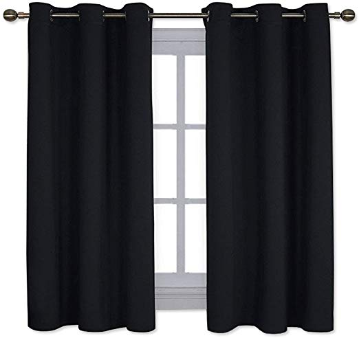 NICETOWN Pitch Black Solid Thermal Insulated Grommet Blackout Curtains