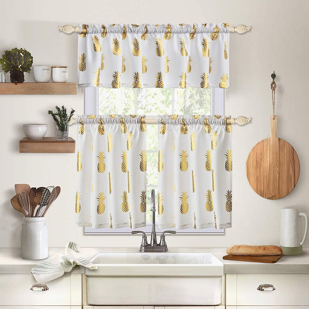 Ambesonne Watercolor Kitchen Curtains