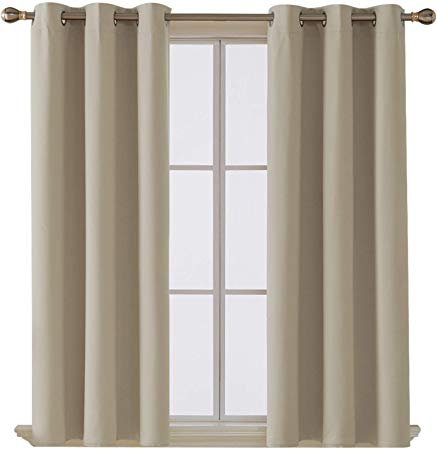Deconovo Solid Back Tab and Rod Pocket Blackout Curtains