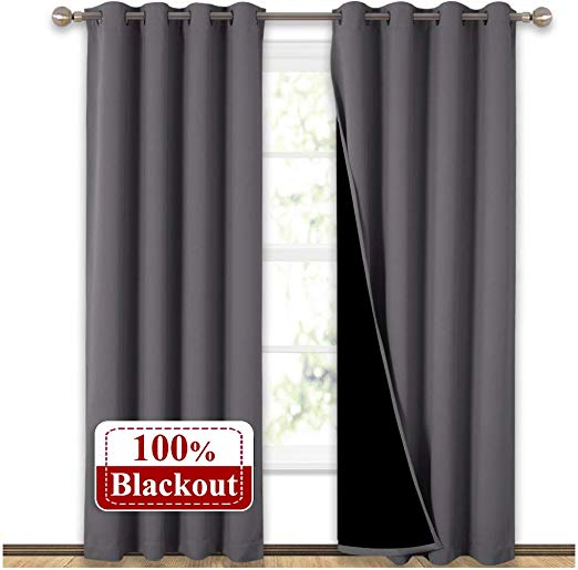 NICETOWN Grey Full Shade Curtain Panels