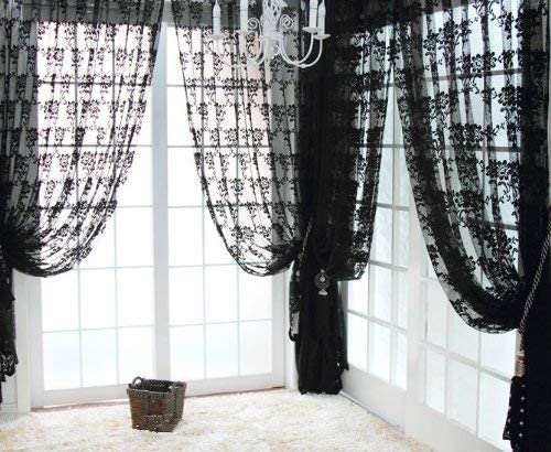 NAVAdeal 1 Panel Black French Lace Design Floral Pattern Sheer Window Curtain Panel Drape
