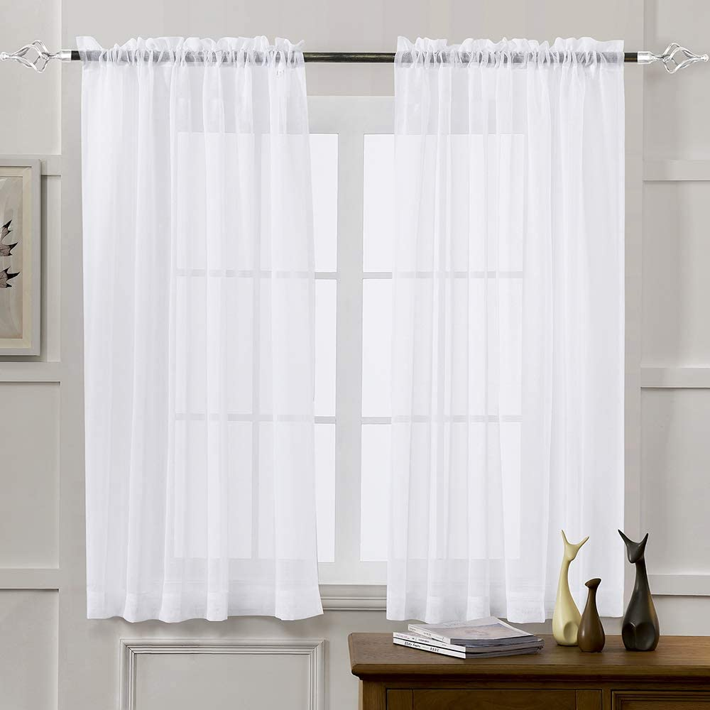 Sheer Curtains White 63 Inch Length