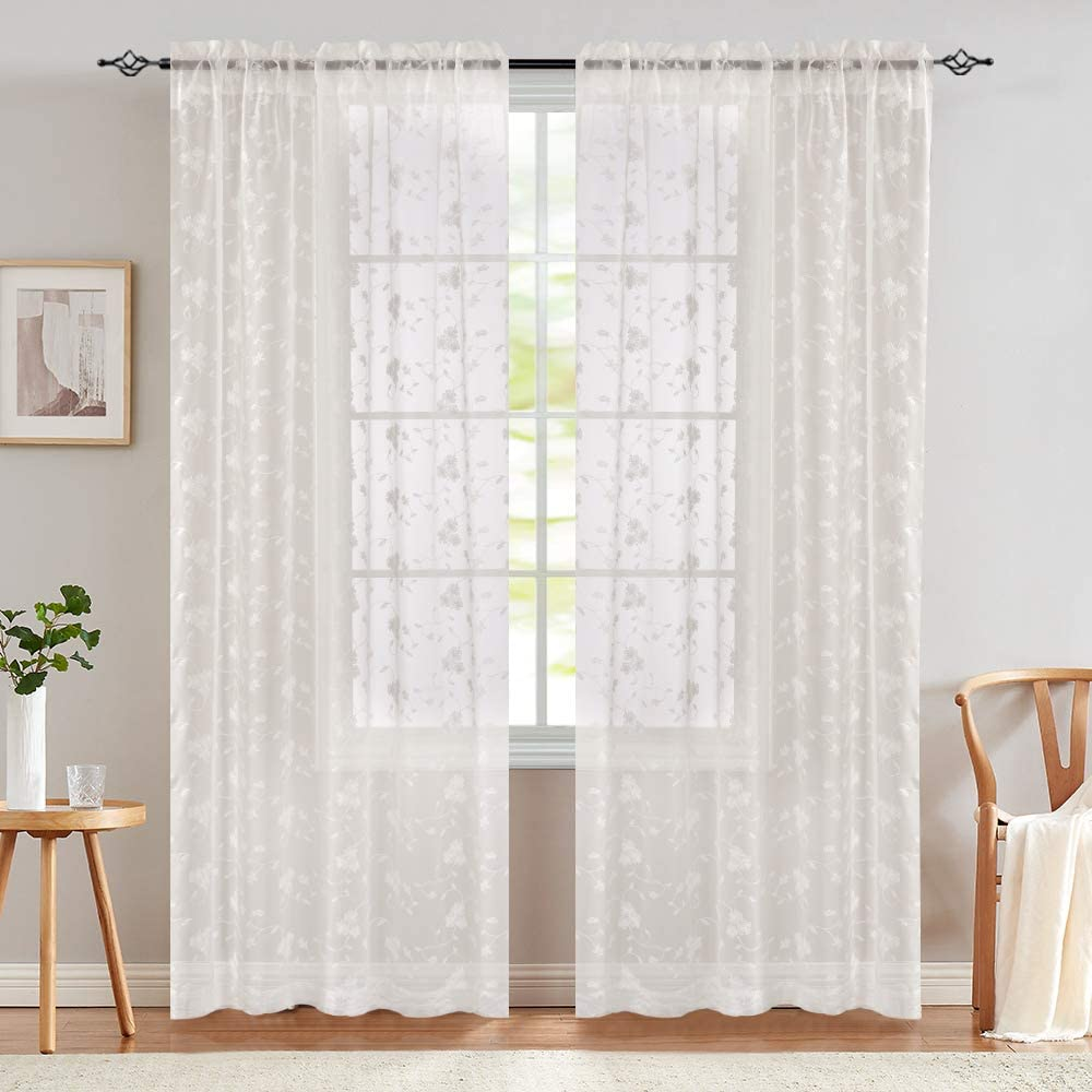 Sheer Curtains for Living Room Floral
